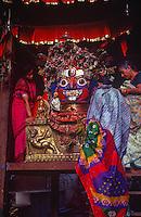 Puja ceremony to Blue Bhairab, Hindu god, at Indra Jatra festival.
