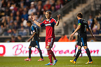 Chris Rolfe (17) of the Chicago Fire reacts to a call. The Philadelphia Union defeated the Chicago Fire 1-0 during a Major League Soccer (MLS) match at PPL Park in Chester, PA, on May 18, 2013.