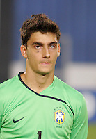 Brazil's Rafael (1) stands on the pitch before the game against Costa Rica during the FIFA Under 20 World Cup Semi-final match at the Cairo International Stadium in Cairo, Egypt, on October 13, 2009. Brazil won the match  1-0.