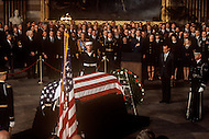 The Capitol Rotunda, Washington D.C. - March 31, 1969. Former Frist Lady Mamie Geneva Eisenhower, with son John Eisenhower and wife Barbara Thompson at the funeral procession of former President Dwight Eisenhower. He (October 14, 1890 - March 28, 1969) was the 34th President of the United States from 1953 until 1961, was a five-star general in the United States Army during World War II and was the first supreme commander of NATO.