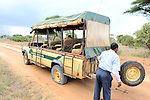 A flat tire while on safari in Tsavo  East National Park, Kenya