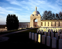 Headstones and a rotunda at Tyne Cot, the biggest Commonwealth War Cemetery in the world where almost 12,000 men, killed in the Ypres Salient during World War I, are laid to rest.
