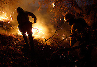 US Forest Service Capt. Chris Anderson (L) and firefighter James Jones (R)  keep flames from crossing their fire line while trying to contain a fast moving 1,500 acre fire in the northeastern part of San Diego County July 13, 2004. The fire, which is moving towards inhabited areas has forced hundreds of residents to evacuate.