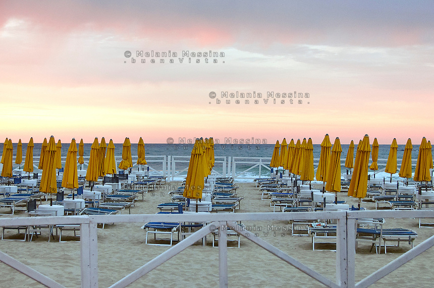 Mondello beach during sunset.<br />