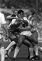 Pix:Michael Steele/SWpix...St Helens v Wigan. Rugby League. From the book 'When Push Comes to Shove'....COPYRIGHT PICTURE>>SIMON WILKINSON..St Helens Alan Hunte is tackled by the Wigan defence.