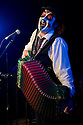 """London, UK. 18/07/2011.  The Tiger Lillies in """"Soho Songs"""" at the Soho Theatre. Legendary post-punk pioneers, The Tiger Lillies, return for their first London run in over two years with a new show celebrating Soho. In this show, The Tiger Lillies unveil a whole host of future classics alongside some of their earliest material. Martyn Jacques, lead singer and founder of the band, spent most of his twenties in a flat above a brothel, peeping through his window at the buzz of Soho's lowlife, and he has been writing about whores, gangsters and freaks his entire 22 year career. Person shown: Martyn Jacques. Photo credit should read Jane Hobson"""