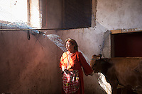 Morocco - Tidzi - Nina Amchine, 52, from Idmine stands in her farm next to her girls as she calls her cows. Nina is the president of the Ajddigue cooperative.