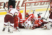 Barry Almeida (BC - 9), Charlie Coyle (BU - 3), Patch Alber (BC - 27), Joe Pereira (BU - 6), Sahir Gill (BU - 28), John Muse (BC - 1) - The Boston College Eagles defeated the visiting Boston University Terriers 5-2 on Saturday, December 4, 2010, at Conte Forum in Chestnut Hill, Massachusetts.