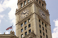 View of the clock tower on the Wrigley Building in Chicago