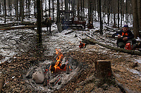 Men take a break for coffee near a fire while cutting wood in Slovenia.