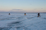 Riding on the ice of Lake Superior, Marquette County, Michigan, 2013