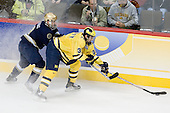 Ryan Thang (Notre Dame - 9), Max Pacioretty (Michigan - 39) - The University of Notre Dame Fighting Irish defeated the University of Michigan Wolverines 5-4 in overtime in their 2008 Frozen Four Semi-Final matchup on Thursday, April 10, 2008, at the Pepsi Center in Denver.