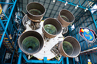 US, Florida. John F. Kennedy Space Center. F-1 engines on a Saturn V at the Apollo/Saturn V Center.