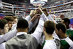 11 March 2016: Notre Dame players huddle before taking the court. The University of North Carolina Tar Heels played the University of Notre Dame Fighting Irish at the Verizon Center in Washington, DC in the Atlantic Coast Conference Men's Basketball Tournament semifinal and a 2015-16 NCAA Division I Men's Basketball game. UNC won the game 78-47.
