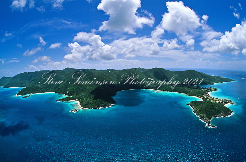 Aerial view of St.  John<br /> Showing the north shore with Caneel Bay Resort, Hawksnest Bay, Trunk Bay<br /> U.S. Virgin Islands