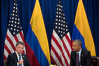 (L to R) President of Colombia Juan Manuel Santos speaks during a bilateral meeting with United States President Barack Obama at the Lotte New York Palace Hotel, September 21, 2016 in New York City. In Tuesday's speech to the United Nations General Assembly, Obama stated that 'helping Colombia end Latin America's longest war' was among his major accomplishments as president. Last month, the Colombian government reached a peace agreement with the Revolutionary Armed Forces of Colombia (FARC). <br /> Credit: Drew Angerer / Pool via CNP /MediaPunch