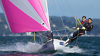 ENGLAND, Falmouth, Restronguet Sailing Club, 9th September 2009, International 14 Prince of Wales Cup Week, POW Cup Race, GBR1529 Andy Fitzgerald and Harvey Hillary