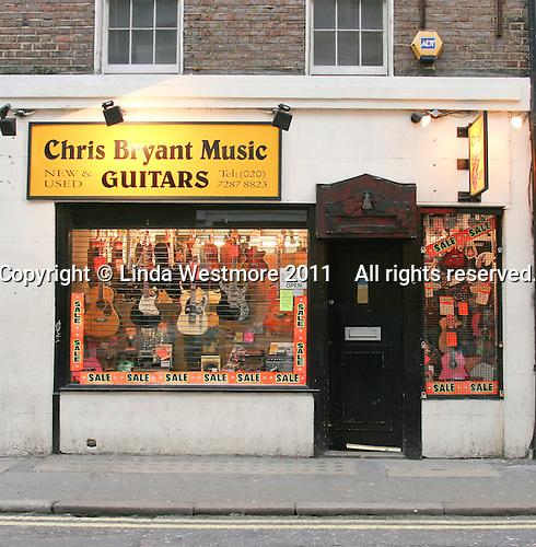 Chris Bryant guitar shop, Soho, London.