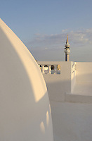 A view of the minaret of the Sid Bou Daui mosque from the roof terrace of the hotel Dar Chez Inez