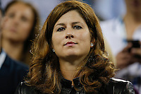 Mirka Federer wife of Roger Federer watches the game between Gael Monfils of France and Roger Federer of Switzerland during their quarter-final game at the US Open 2014 tennis tournament at the USTA Billie Jean King National Center in New York.  09.04.2014. VIEWpress