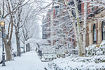 Fresh snow on Marlboro Street in the Back Bay, Boston, Massachusetts, USA