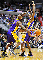 Gilbert Arenas of the Wizards has a tough time with the Lakers' defense. Los Angeles defeated Washington 103-89 at the Verizon Center in Washington, DC on Tuesday, December 14, 2010. Alan P. Santos/DC Sports Box