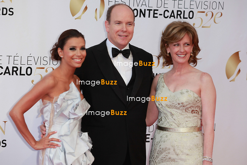 MONTE-CARLO, MONACO - JUNE 14: Prince Albert II of Monaco poses with actress Eva Longoria (R) and Anne Sweeney (R) pose as they arrive at the Closing Ceremony of the 52nd Monte Carlo TV Festival on June 14, 2012 in Monte-Carlo, Monaco...