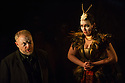London, UK. 11.02.2014. English Touring Opera presents KING PRIAM in the Linbury Studio at the Royal Opera House. Picture shows: Andrew Slater (Old Man) and Laure Meloy (Hecuba).   Photograph © Jane Hobson.