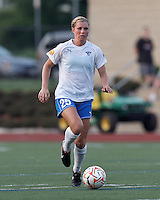 Boston Breakers defender Taryn Hemmings (25) brings the ball forward. In a Women's Premier Soccer League Elite (WPSL) match, the Boston Breakers defeated New England Mutiny, 4-2, at Dilboy Stadium on June 20, 2012.
