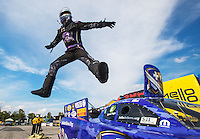 Sep 25, 2016; Madison, IL, USA; NHRA funny car driver Jack Beckman leaps off his car as he celebrates after winning the Midwest Nationals at Gateway Motorsports Park. Mandatory Credit: Mark J. Rebilas-USA TODAY Sports