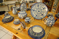 Genuine blue and white Talavera pottery for sale in Cholula, Puebla, Mexico. Cholula is a UNESCO World Heritage Site.
