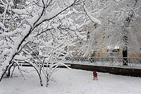 Nevicata a Roma.Snowfall in Rome.Parco dei Caduti del 19 luglio 1943...