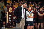 14 APR 2012: Head coach Mike LoPresti (left) talks with Joely Carrillo (24) of Fairleigh Dickson University during the final frames of the Division I Womens Bowling Championship held at Freeway Lanes in Wickliffe, OH.  The University of Maryland Eastern Shore defeated Fairleigh Dickinson 4-2 to win the national title.  Jason Miller/NCAA Photos