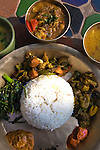 Nepali Thakali meal set, similar to Indian cuisine though perhaps  not quite so punchy, Nepalese cuisine is nevertheless very tasty especially once you get away from the ubiquitous dal bat or lentil soup that is most often served at trekkers teahouses.