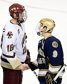 Kyle Kucharski (Boston College - 18), Ryan Thang (Notre Dame - 9) - The University of Notre Dame Fighting Irish defeated the Boston College Eagles 4-1 on Friday, November 7, 2008, at Conte Forum in Chestnut Hill, Massachusetts.