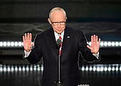Former United States Attorney General Michael Mukasey makes remarks at the 2016 Republican National Convention held at the Quicken Loans Arena in Cleveland, Ohio on Tuesday, July 19, 2016.<br /> Credit: Ron Sachs / CNP<br /> (RESTRICTION: NO New York or New Jersey Newspapers or newspapers within a 75 mile radius of New York City)
