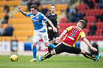 St Johnstone v Partick Thistle&hellip;29.10.16..  McDiarmid Park   SPFL<br />Danny Swanson skips by Liam Lindsay<br />Picture by Graeme Hart.<br />Copyright Perthshire Picture Agency<br />Tel: 01738 623350  Mobile: 07990 594431