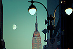 Moonrise and Empire State Building, Manhattan, New York City.