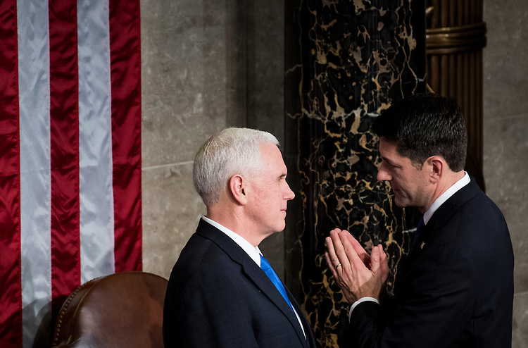 UNITED STATES - FEBRUARY 28: Speaker of the House Paul Ryan, R-Wisc., speaks with Vice President Mike Pence as he arrives for  President Donald Trump's address to a joint session of Congress on Tuesday, Feb. 28, 2017. (Photo By Bill Clark/CQ Roll Call)