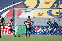 CARSON, CA - August 25, 2013: Chivas USA forward Erick Torres (10) kicks the penalty during the Chivas USA vs New York Red Bulls match at the StubHub Center in Carson, California. Final score, Chivas USA 3, New York Red Bulls 2.