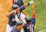 29 May 2016: Washington Nationals outfielder Jayson Werth is greeted by teammates after crossing the plate and hitting a grand slam in the 7th inning against the St. Louis Cardinals at Nationals Park in Washington, DC. The Nationals defeated the Cardinals 10-2 to split their 4-game series. Mandatory Credit: Ed Wolfstein Photo *** RAW (NEF) Image File Available ***
