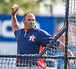 10 March 2014: Houston Astros third base coach Pat Listach tosses batting practice prior to a Spring Training game against the Washington Nationals at Space Coast Stadium in Viera, Florida. The Astros defeated the Nationals 7-4 in Grapefruit League play. Mandatory Credit: Ed Wolfstein Photo *** RAW (NEF) Image File Available ***