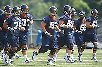 Offensive line during open spring practice for the Virginia Cavaliers football team August 7, 2009 at the University of Virginia in Charlottesville, VA. Photo/Andrew Shurtleff