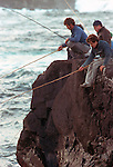 Besides dairy and agriculture, fishing is one of the main occupations on Terceira, Azores. Fisherman try to catch conger, moray eels, mackerel, snapper, bream and swordfish from the rocky shoreline.  (Jim Bryant Photo).....