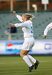 North Carolina's Elizabeth Guess reacts after scoring the game's first goal at 1:22 on Friday, November 3rd, 2006 at SAS Stadium in Cary, North Carolina. The University of North Carolina Tarheels defeated the Clemson University Tigers 3-0 in Atlantic Coast Conference Women's Soccer Championship semifinal game.