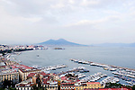 Bay of Naples and the Mergellina with Mt. Vesuvius in the background.