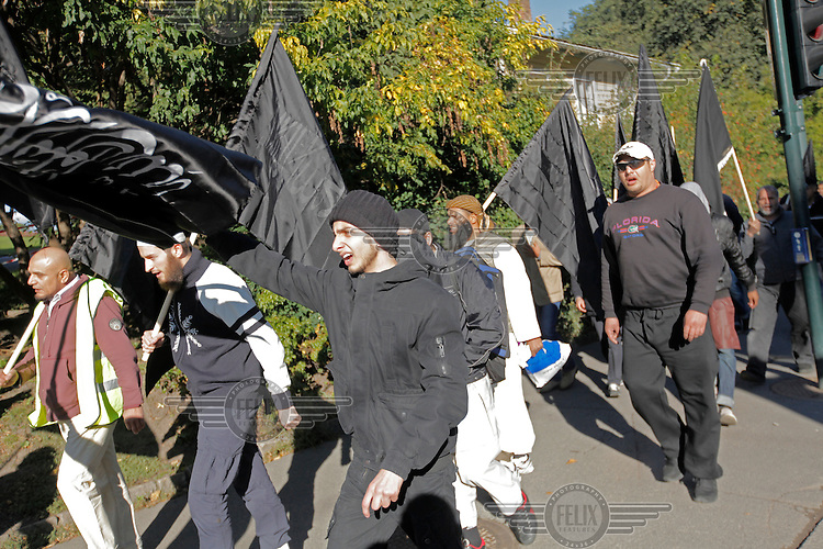 Radical muslims protest  a film mocking Islam outside the US embassy in Oslo, Norway. The gathering was small and passed peacefully.