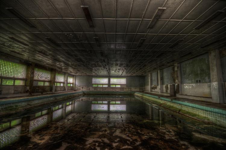 Old unused Soviet sports hospital in East Germany, swimming pool