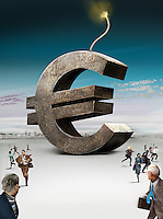 Business people running away from large euro sign bomb