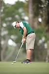 HOWEY IN THE HILLS, FL - MAY 19: Gavin Dugas of Husson watches a putt during the Division III Men's Golf Championship held at the Mission Inn Resort and Club on May 19, 2017 in Howey In The Hills, Florida. (Photo by Cy Cyr/NCAA Photos via Getty Images)